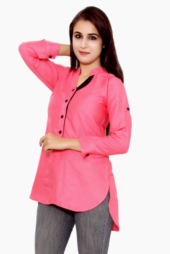 Uttam Enterprises Party Full Sleeve Solid Women's Pink Top