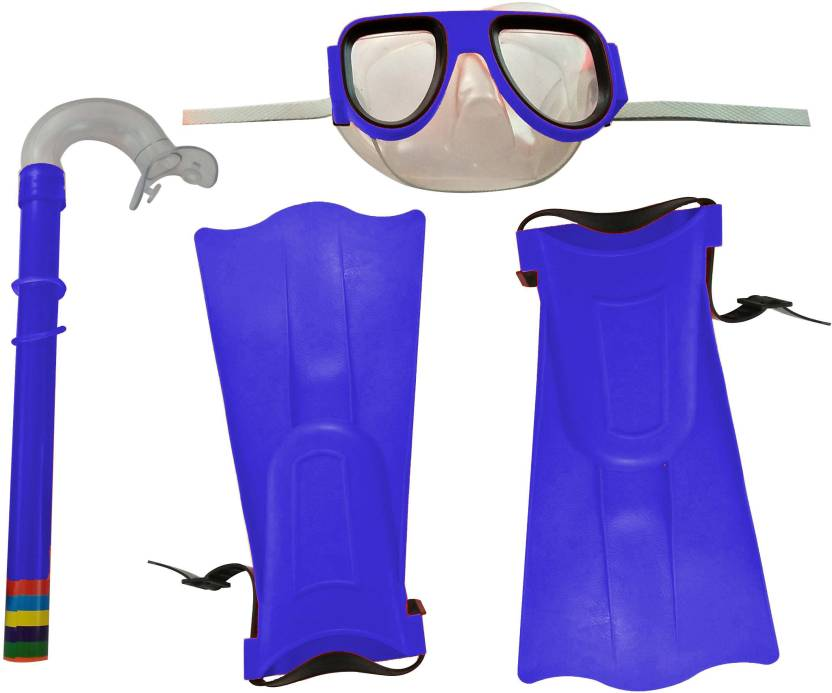 88b836ad15c GPZ SNORKELING SET SNORKEL MASK GOGGLES FLIPPERS SCUBA SWIMMING DIVING KIDS  SET - BLUE Fin (M