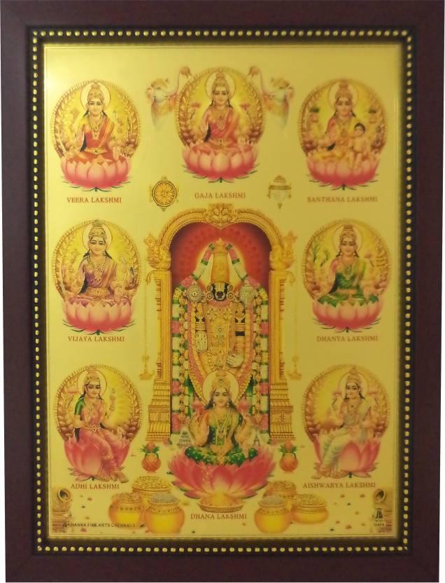 Generic Lord Balaji and Ashta Lakshmi (34 cm x 26 cm x 1.5 cm, Red ...