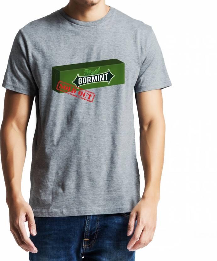 Baklol Graphic Print Men's Round Neck Grey T-Shirt