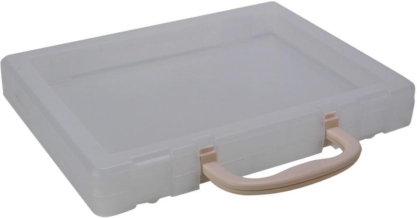 Pinzo 1 Compartments Plastic Transparent Paper Document Storage Box Carry  Case Organizer