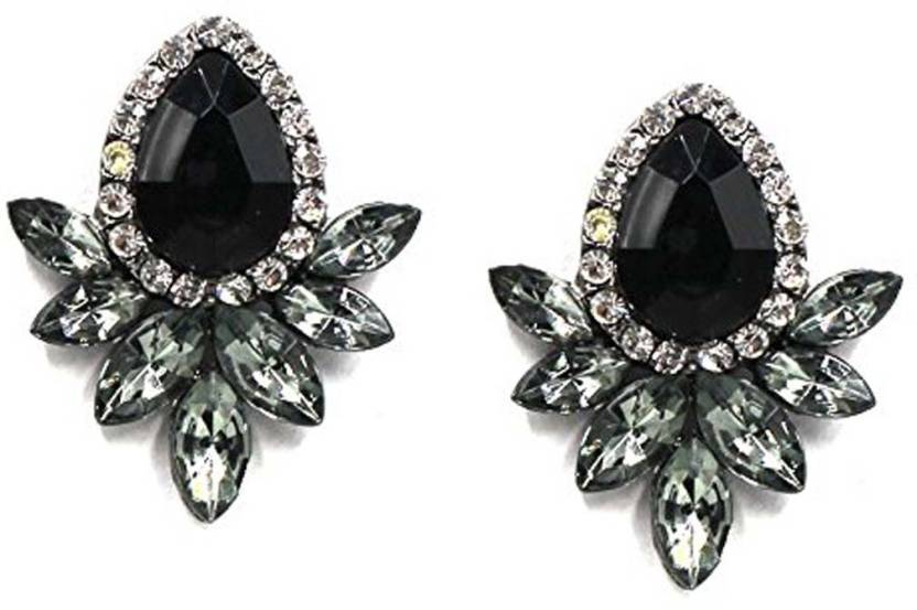 1ad154d62 Flipkart.com - Buy Shining Diva Black Stone Fancy Party Wear Tops Stud  Alloy Stud Earring Online at Best Prices in India