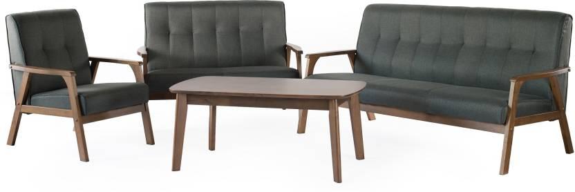 FurnCulture Vigo Fabric 3 + 2 + 1 + 1 Brown Sofa Set