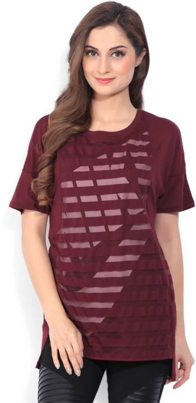 Nike Printed Womens Round Neck Maroon T-Shirt