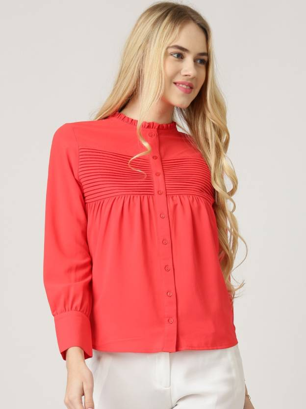 430b978e21b787 Netanya Women s Solid Casual Red Shirt - Buy Netanya Women s Solid Casual  Red Shirt Online at Best Prices in India