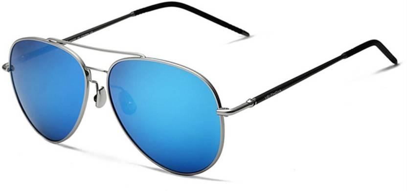 f82c8571948 Buy Veithdia Aviator Sunglasses Blue For Men Online   Best Prices in ...