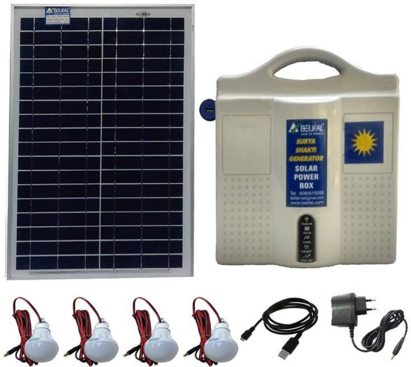 Belifal Solar Home Lighting System With 12V DC Bulbs(4pcs) & Solar ...