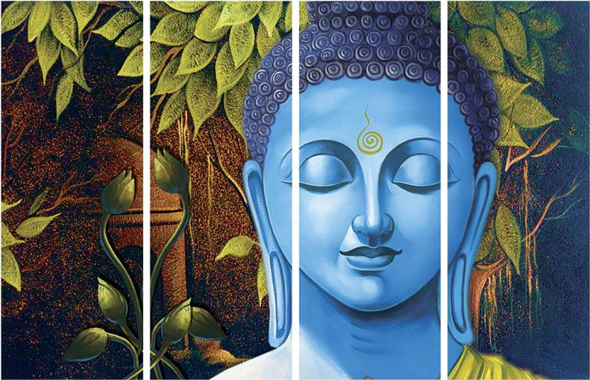 saf buddha premium large 4 panel painting ink painting price in