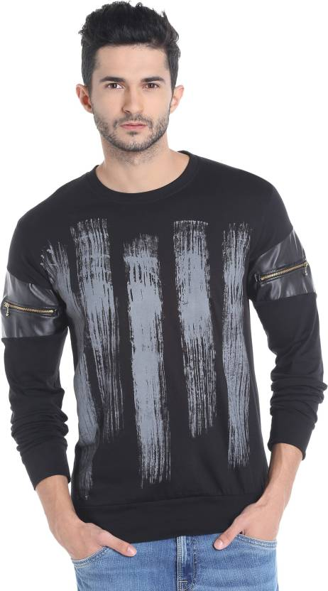 Campus Sutra Printed Men Round Neck Black, Grey T-Shirt