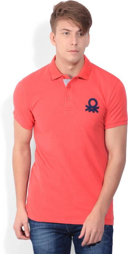 61fac8f3d United Colors of Benetton Solid Men s Polo Neck Red T-Shirt - Buy RED United  Colors of Benetton Solid Men s Polo Neck Red T-Shirt Online at Best Prices  in ...
