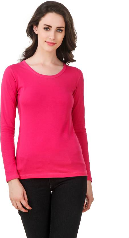Clo Clu Solid Womens Round Neck Pink T-Shirt