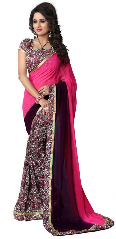 Oomph! Solid Bollywood Georgette Saree