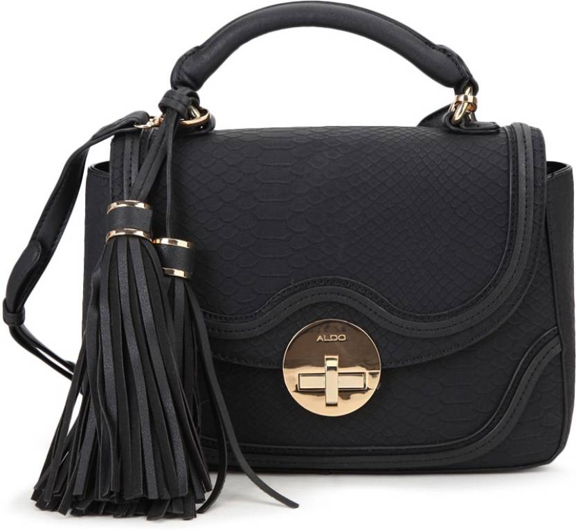 039a0d89a03 ALDO Women Casual Black PU Sling Bag Black Snake Black Smooth Combo W Lt  Gold Hw - Price in India