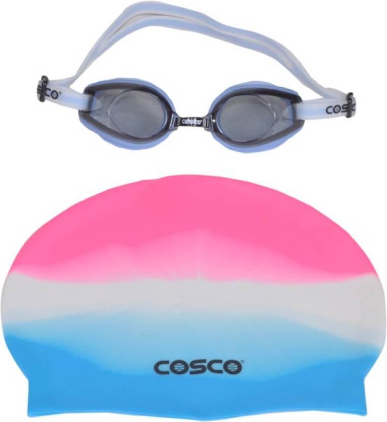 6aaf335da1ac Cosco SWIMMING GOGGLES (AQUA DASH)  CAP PRO COMBO Swimming Cap - Buy ...
