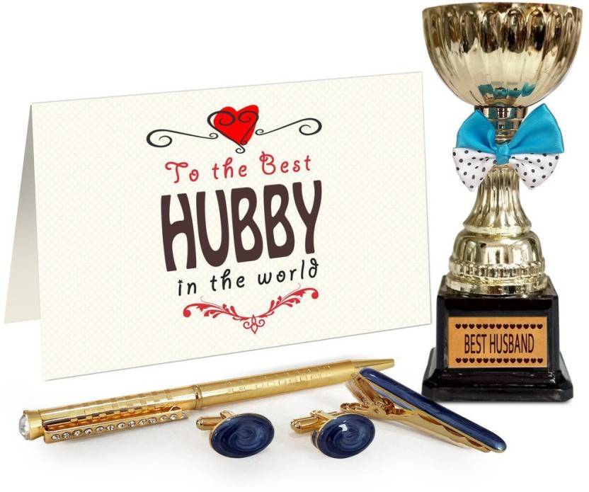 Tied Ribbons Birthday Gifts For Husband Cufflinks Tiepin And Pen Set With Golden Trophy Showpiece Gift Price In India