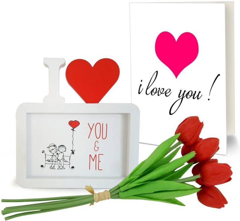 Tied Ribbons Love gifts for girlfriend Photo Frame and Red Tulip ...