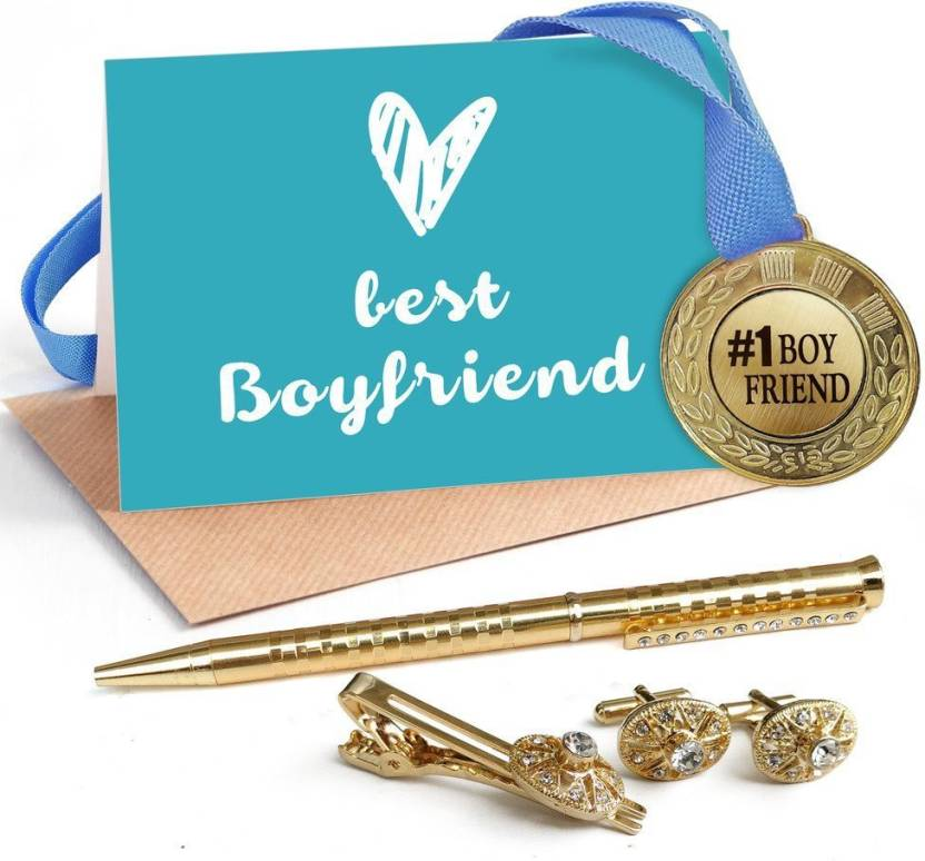 Tied Ribbons Birthday Gifts Golden Medal With Cufflinks And Tie Pin Pen Greeting Card