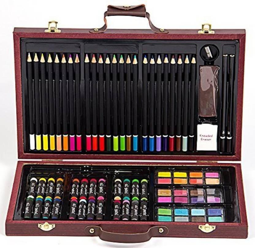 Hengjia 80 Piece Studio Art Craft Supplies Set In Leather