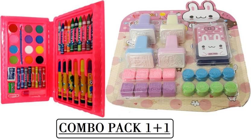 Blue Lotus 42 Pcs Colour Kit & Kids Stamp Set Combo Pack - 42 Pcs ...