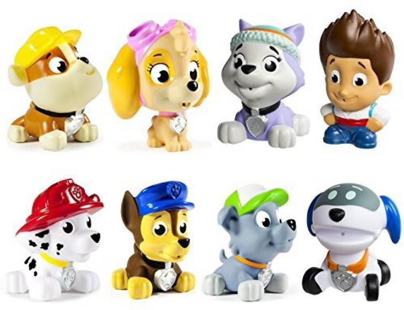 Paw Patrol Bath Squirters Set Of 8 Ryder Everest Robodog Rubble