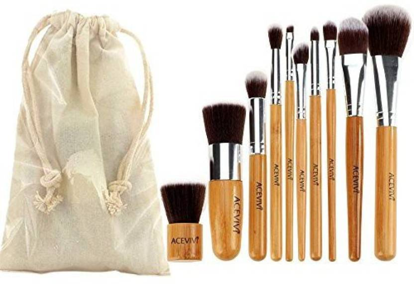 Acevivi Eco-friendly Bamboo Wooden Handle Makeup Brushes