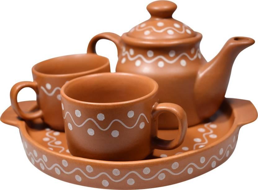 Gallery99 White Dotted Brown Ceramic Tea Pot Tea Plate 2 Tea Cup