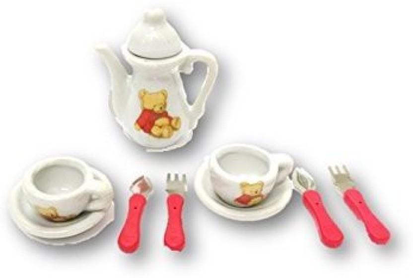 Dollhouse Miniature Decoration TablewarePorcelain Tea Set Kids Pretend Play ToyO