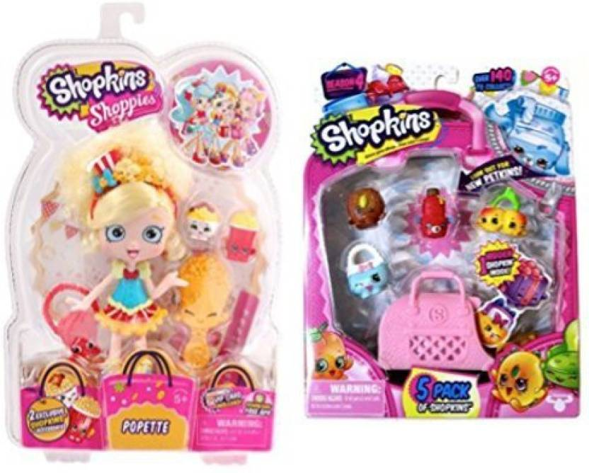 Shopkins Shoppie Poppette Doll PLUS Season 4 5 Pack