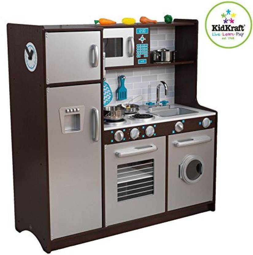 KidKraft Modern Midtown Espresso Kitchen with Accessories ...