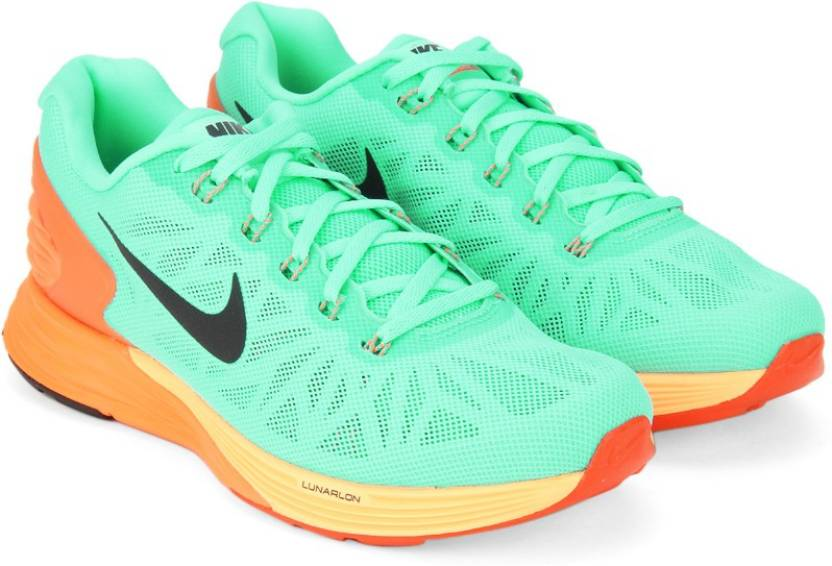 new style ac744 663fe Nike WMNS LUNARGLIDE 6 Running Shoes For Women (Green, Orange)