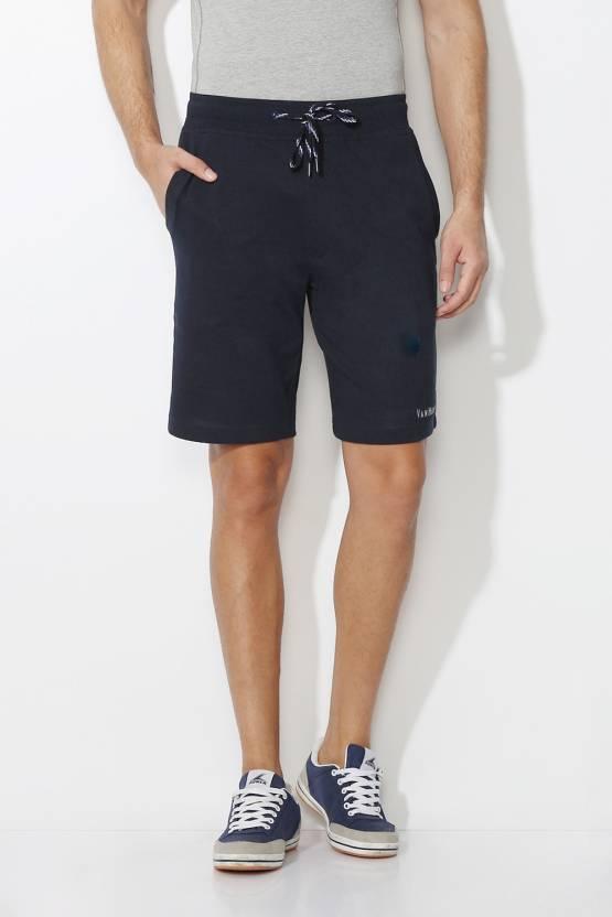 Van Heusen Solid Mens Dark Blue Basic Shorts
