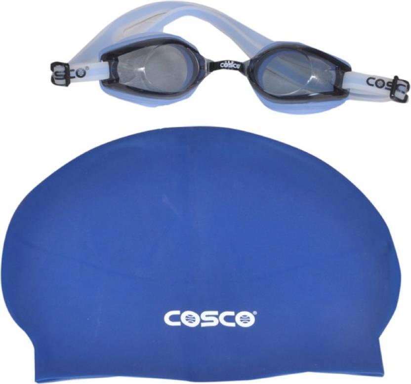 f388c128e213 Cosco SWIMMING GOGGLES (AQUA-DASH)   CAP COMBO Swimming Cap - Buy ...