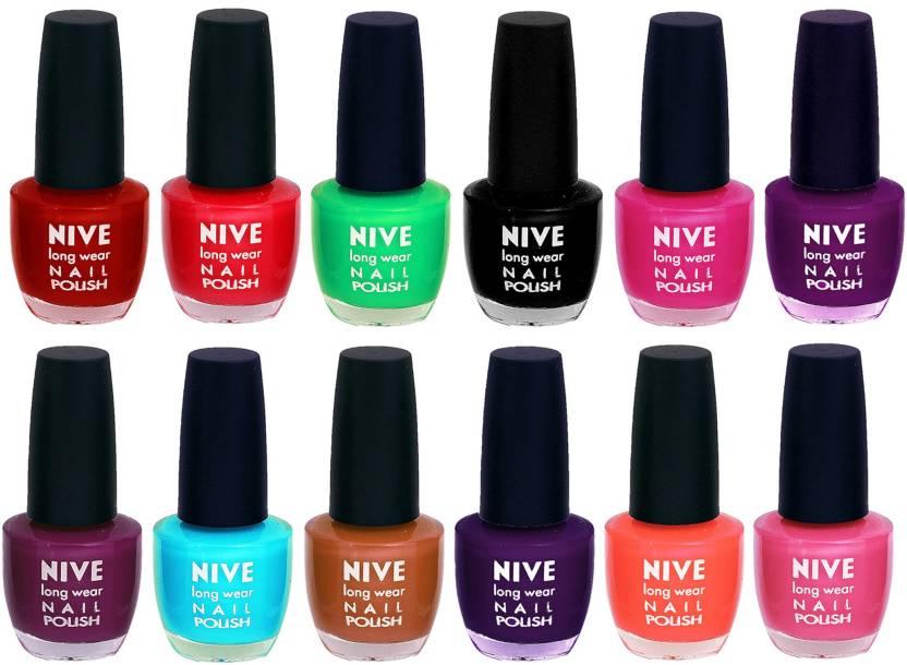 Nive Colour Blast Nail Lacquer (Set of 12 Nail Polish) 1105201755 ...