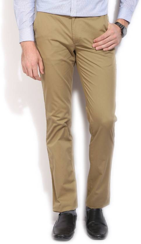 Peter England Slim Fit Men's Green Trousers