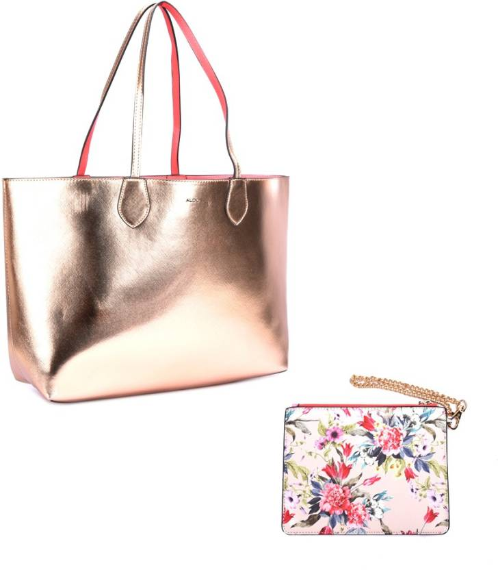 7717cda4b97 Buy ALDO Tote ROSE GOLD   CORAL   FLORAL POUCH W LT GOLD HW Online   Best  Price in India