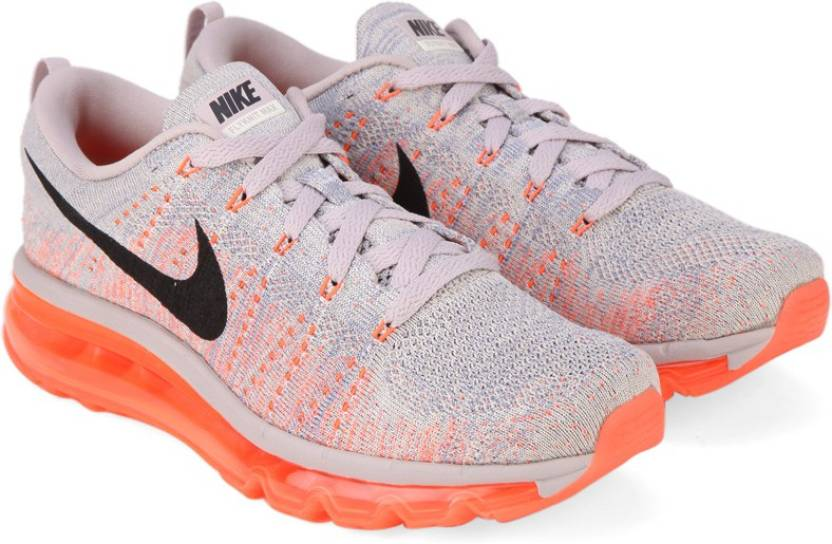 c71c9bab71 Nike WMNS FLYKNIT AIR MAX Running Shoes For Women (Purple, Black, Orange). 5  ☆
