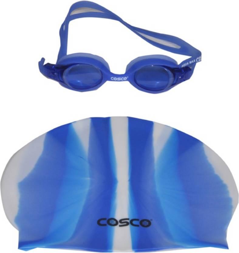 7c6293f58c63 Cosco SWIMMING GOGGLES (AQUA MAX)   PRO COMBO Swimming Cap - Buy ...