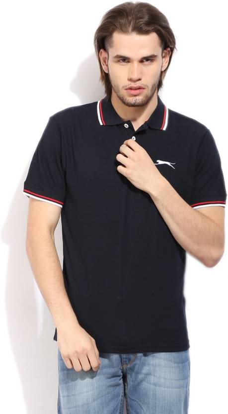 30deb7e4 Slazenger Solid Men's Polo Neck Blue T-Shirt - Buy NAVY Slazenger Solid  Men's Polo Neck Blue T-Shirt Online at Best Prices in India   Flipkart.com