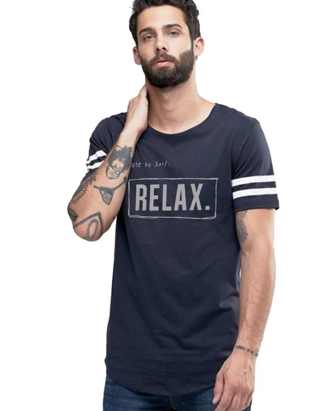 Young Trendz Printed Mens Round Neck Dark Blue T-Shirt