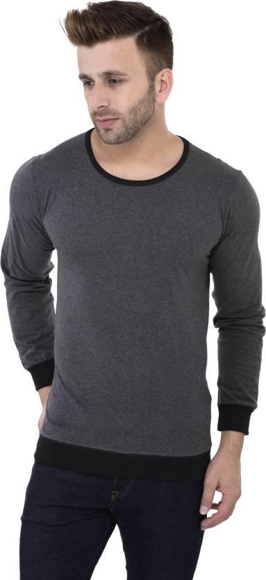 Katso Solid Men's Round Neck Black T-Shirt