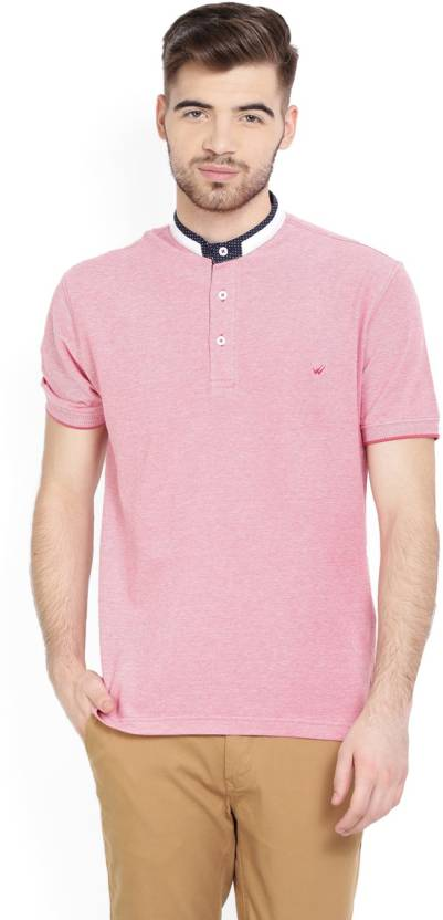 b6f4b5b05 Wills Lifestyle Solid Men's Mandarin Collar Pink T-Shirt - Buy ROSETTE Wills  Lifestyle Solid Men's Mandarin Collar Pink T-Shirt Online at Best Prices in  ...