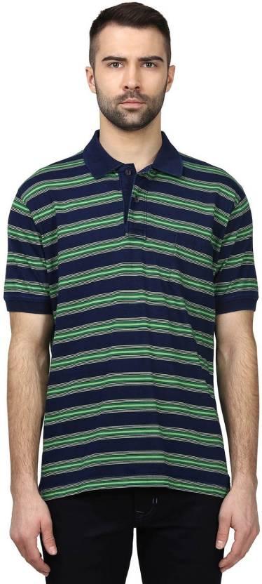 02de1a92 ColorPlus Striped Men's Polo Neck Dark Blue T-Shirt - Buy ColorPlus ...