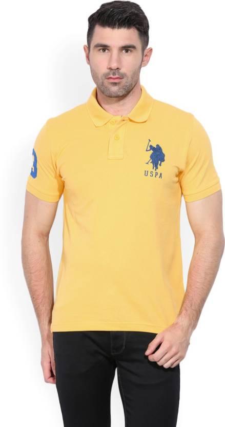 7da6f7633 U.S. Polo Assn Solid Men's Polo Neck Yellow T-Shirt - Buy USPA YELLOW U.S.  Polo Assn Solid Men's Polo Neck Yellow T-Shirt Online at Best Prices in  India ...