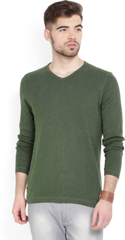 8c93a1de6b Numero Uno Solid Men s V-neck Green T-Shirt - Buy OLIVE MELANGE Numero Uno  Solid Men s V-neck Green T-Shirt Online at Best Prices in India