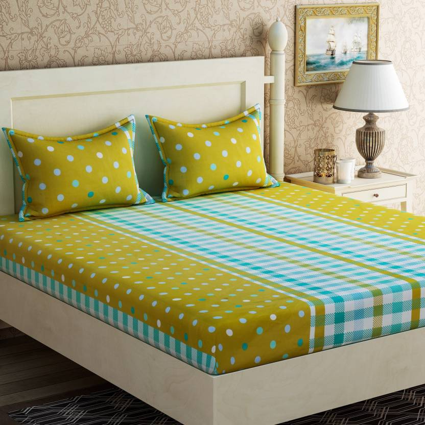 Zesture Cotton Polka Double Bedsheet