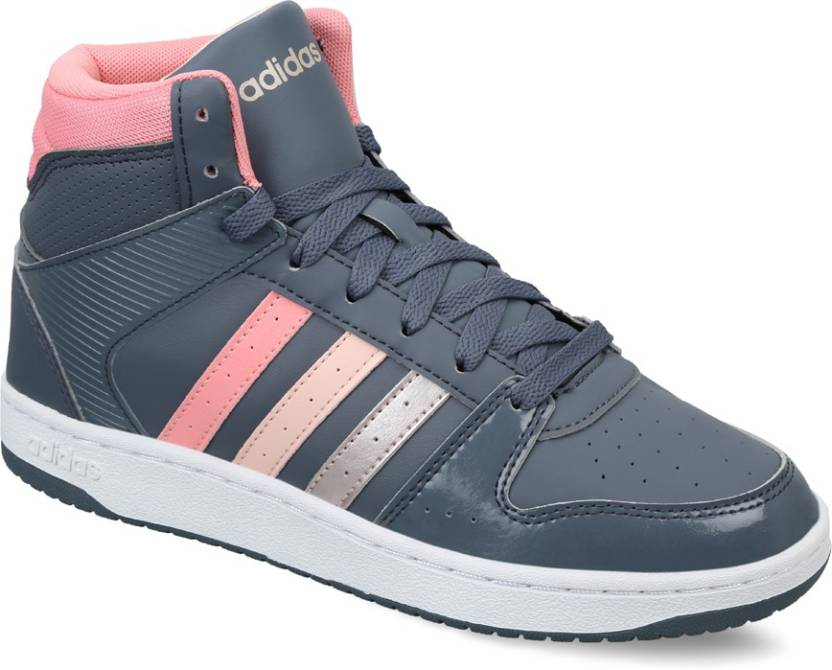 new style 2f951 ff02d ADIDAS NEO VS HOOPSTER MID W Sneakers For Women (Grey, Pink)