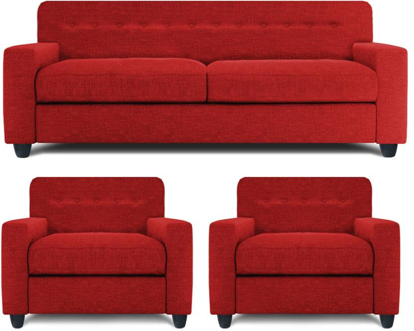 Dolphin Solitaire Fabric 2 + 1 + 1 Red Sofa Set