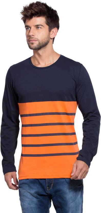 Alan Jones Striped Men's Round Neck Dark Blue, Orange T-Shirt