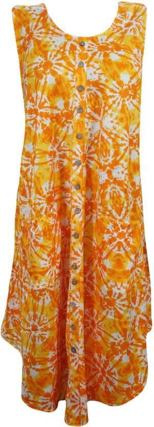 Indiatrendzs Women's A-line Orange Dress