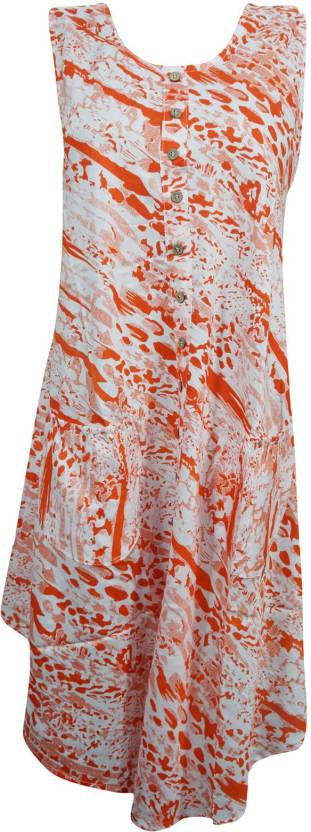 Indiatrendzs Women's A-line Orange, White Dress